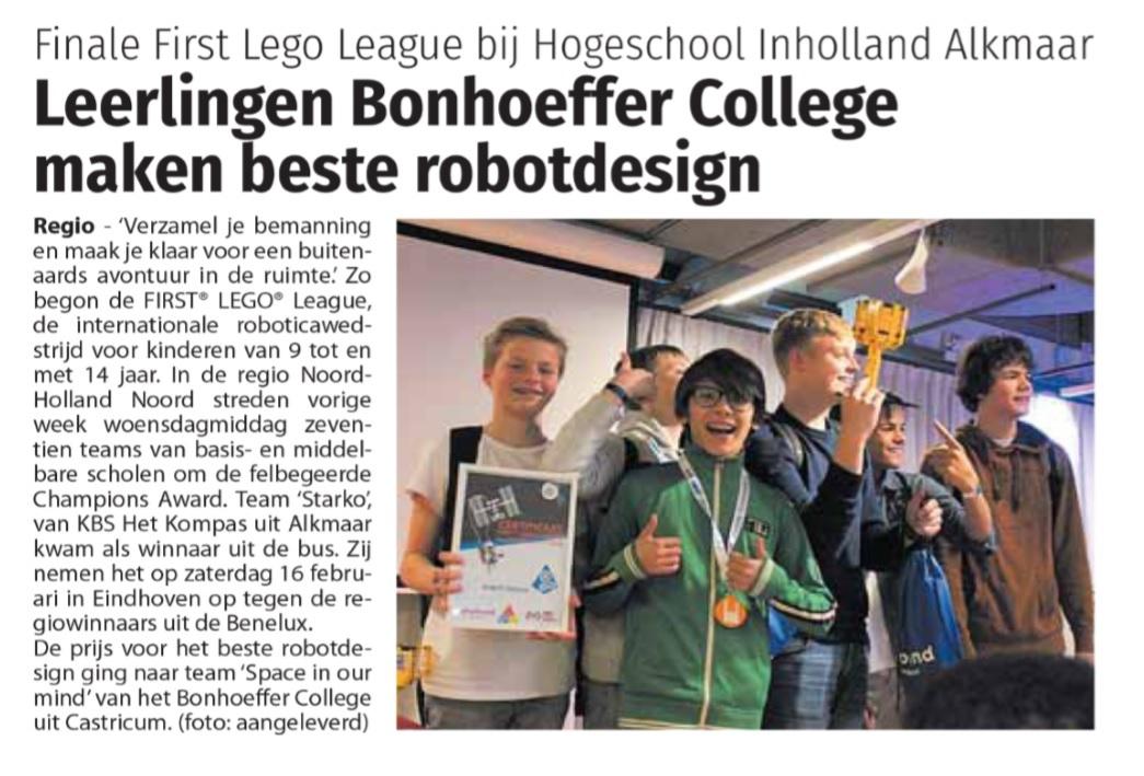 Prijs voor beste robotdisign